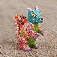 Wood alebrije figurine, 'Little Squirrel' - Artisan Crafted Wood Alebrije Squirrel Figurine from Mexico