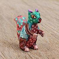 Wood alebrije figurine, 'Tiny Squirrel' - Handmade Copal Wood Alebrije Squirrel Figurine from Mexico