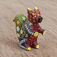 Wood alebrije figurine, 'Excited Squirrel' - Artisan Crafted Floral Wood Alebrije Squirrel Figurine