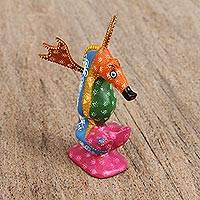 Wood alebrije figurine, 'Exciting Seahorse' - Handcrafted Wood Alebrije Seahorse Figurine from Mexico