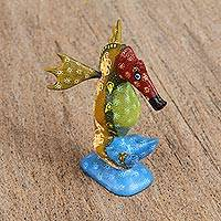 Wood alebrije figurine, 'Wondrous Seahorse' - Hand-Painted Wood Alebrije Seahorse Figurine from Mexico