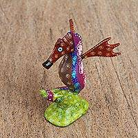 Wood alebrije figurine, 'Pretty Seahorse' - Handcrafted Wood Alebrije Seahorse Figurine from Mexico