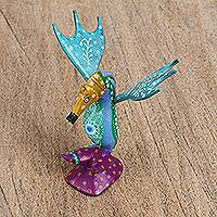Wood alebrije figurine, 'Bright Seahorse' - Blue Floral Wood Alebrije Seahorse Figurine from Mexico
