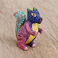 Wood alebrije figurine, 'Petite Squirrel' - Hand-Painted Floral Wood Alebrije Squirrel Figurine
