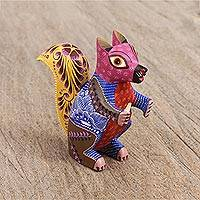 Wood alebrije figurine, 'Vivacious Squirrel' - Multicolored Copal Wood Alebrije Squirrel Figurine