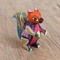 Wood alebrije figurine, 'Protective Squirrel' - Vibrant Copal Wood Alebrije Squirrel Figurine from Mexico