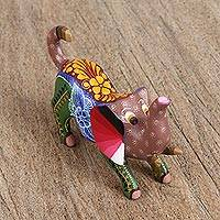 Wood alebrije sculpture, 'Elephant of Luck' - Hand-Painted Wood Alebrije Elephant Figurine from Mexico