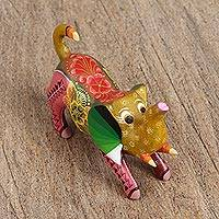 Wood alebrije figurine, 'Arching Elephant' - Handcrafted Multicolored Wood Alebrije Elephant Figurine