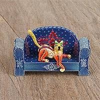 Wood alebrije figurines, 'Cat on a Blue Couch' (pair) - Wood Alebrije Cat and Blue Couch Figurines (Pair)