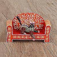 Wood alebrije firugines, 'Cat on a Red Couch' (pair) - Wood Alebrije Cat and Red Couch Figurines (Pair)