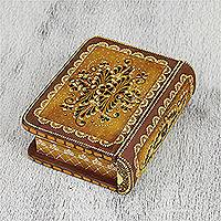 Wood decorative box, 'Tricky Brown Book' - Hand-Painted Brown Floral Wood Decorative Box from Mexico