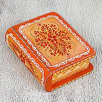 Wood decorative box, 'Orange Tricky Book' - Hand-Painted Orange Floral Wood Decorative Box from Mexico