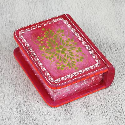 Wood decorative box, 'Tricky Pink Book' - Hand-Painted Pink Floral Wood Decorative Box from Mexico