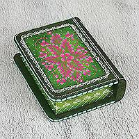 Wood decorative box, 'Green Tricky Book' - Hand-Painted Green Floral Wood Decorative Box from Mexico
