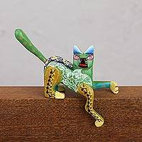 Wood alebrije figurine, 'Reposing Cat' - Hand-Painted Wood Alebrije Cat Figurine from Mexico