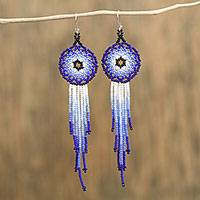 Glass beaded dangle earrings, 'Blue Huichol Circles' - Huichol Glass Beaded Earrings in Blue from Mexico