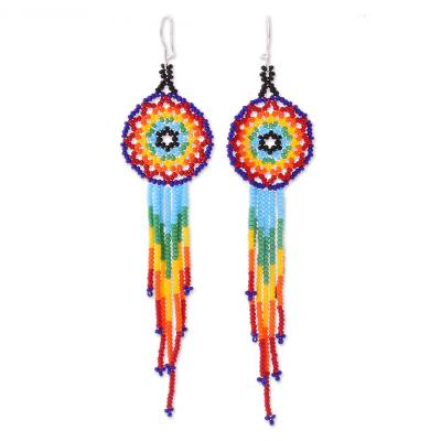 Glass beaded dangle earrings, 'Colorful Huichol Circles' - Huichol Multicolored Glass Beaded Earrings from Mexico