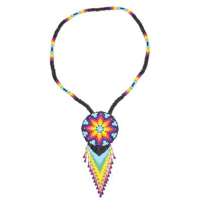Colorful Huichol Glass Beaded Necklace from Mexico
