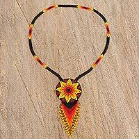 Glass beaded pendant necklace, 'Red Starry Huichol' - Huichol Glass Beaded Necklace in Red from Mexico