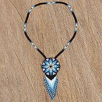 Glass beaded pendant necklace, 'Icy Huichol'