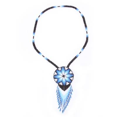 Glass beaded pendant necklace, 'Icy Huichol' - Huichol Glass Beaded Necklace in Blue from Mexico