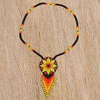 Glass beaded pendant necklace, 'Huichol Burst' - Huichol Glass Beaded Pendant Necklace from Mexico