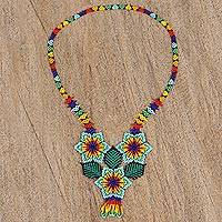Glass beaded pendant necklace, 'Huichol Trio' - Floral Huichol Glass Beaded Necklace from Mexico