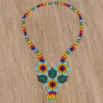 Glass beaded pendant necklace, Huichol Trio