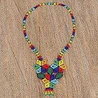 Glass beaded pendant necklace, 'Colorful Huichol Trio' - Colorful Floral Huichol Beaded Necklace from Mexico