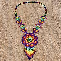 Glass beaded pendant necklace, 'Large Huichol Flower'