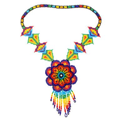 Glass beaded pendant necklace, 'Large Huichol Flower' - Floral Design Huichol Glass Beaded Necklace from Mexico