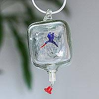 Glass hummingbird feeder, 'Dining with Friends' - Blue Bird in Clear Blown Glass Hanging Hummingbird Feeder