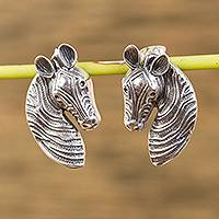 Sterling silver button earrings, 'Zebra Gaze' - Sterling Silver Zebra Button Earrings from Mexico