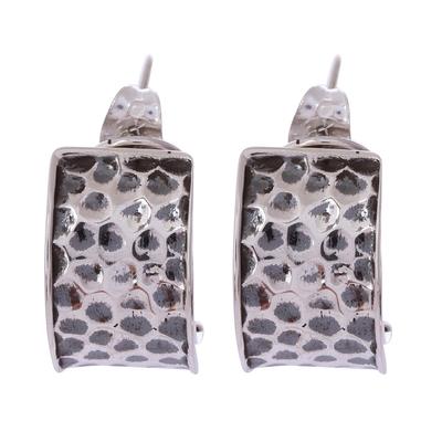 Modern Sterling Silver Half-Hoop Earrings from Mexico