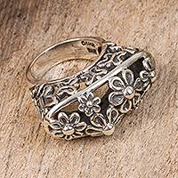 Sterling silver cocktail ring, 'Beautiful Nascence' - Floral Sterling Silver Cocktail Ring from Mexico
