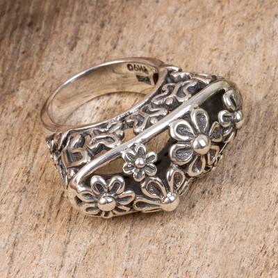 silver ring chain motorcycle wheel - Floral Sterling Silver Cocktail Ring from Mexico