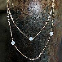 Gold plated moonstone long necklace, 'Moon Night' - Gold Plated Moonstone Long Necklace from Mexico