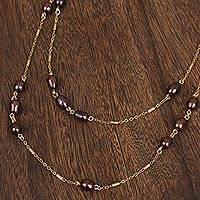 Gold plated cultured pearl wrap necklace, 'Night Pearls' - Gold Plated Cultured Pearl Wrap Necklace from Mexico