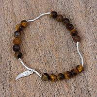 Tiger's eye beaded bracelet, 'Feather Mused' - Tiger's Eye Beaded Feather Bracelet from Mexico