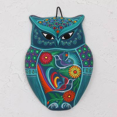 Ceramic wall art, 'Garden Owl' - Hand Painted Colorful Ceramic Owl with Doves and Flowers