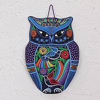 Ceramic wall art, 'Twilight Owl' - Hand Painted Colorful Ceramic Owl with Birds and Flowers