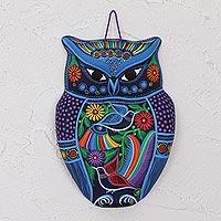 Ceramic wall art, 'Twilight Owl'