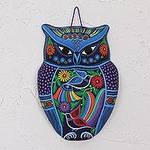 Hand Painted Colorful Ceramic Owl with Birds and Flowers, 'Twilight Owl'