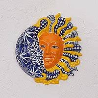 Ceramic wall art, 'Carnaval Eclipse' - Hand Painted Ceramic Yellow Sun and Blue Crescent Moon