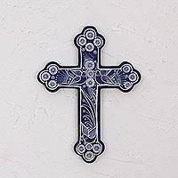 Ceramic wall cross, 'Serenity Cross' - Blue with White Doves and Flowers Hand Painted Ceramic Cross