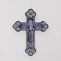 Ceramic wall cross, 'Serenity Cross'