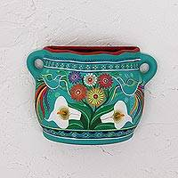 Ceramic wall art, 'Garden Vase' - Turquoise Hand Painted Ceramic Decorative Vase Wall Art