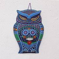 Ceramic wall art, 'Ancestor Owl'