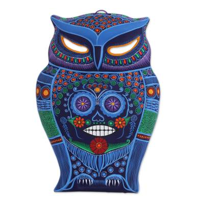 Hand Painted Colorful Ceramic Owl with Day of the Dead Skull