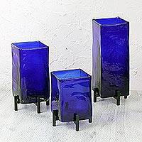 Vases, 'Blue Hurricane' (set of 3) - Mexican Handblown Glass Vases with Stands Set of 3